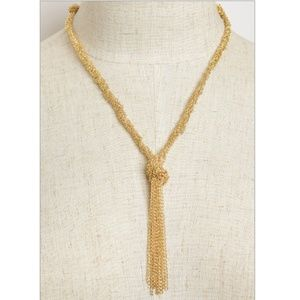 NWT Delicate Golden Chain Knotted Drop Necklace